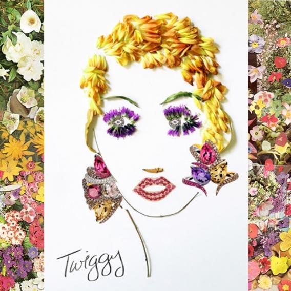 портреты знаменитостей из цветов и драгоценностей