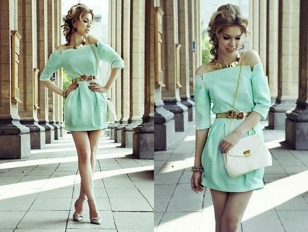 мятный цвет в одежде, с чем носить мятный цвет, сочетание мятного цвета