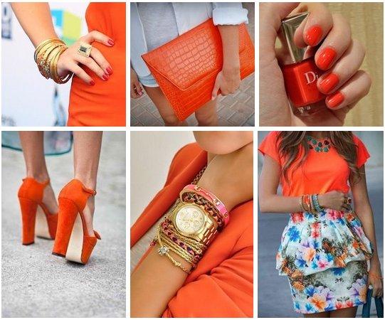 оранжевый цвет в одежде, сочетание оранжевого цвета, как подобрать оранжевый цвет