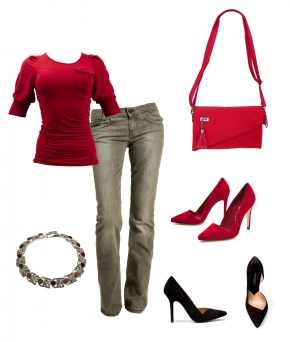 образ дня, магазин Elfina, красная кофточка, серые джинсы, повседневный образ
