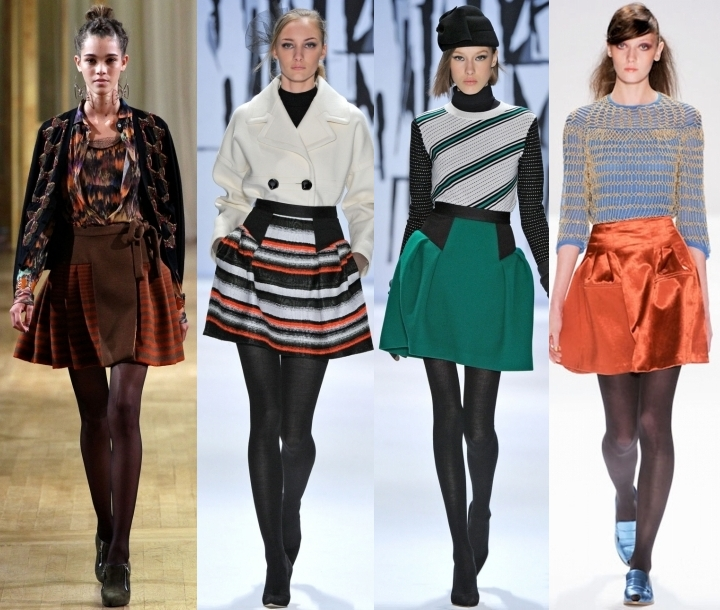 модные юбки осень - 2014, какие юбки модные осенью, модные юбки цвет, модные юбки длина