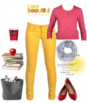 образ в желтых и красных тонах, модный осенний образ, мода осень - 2014