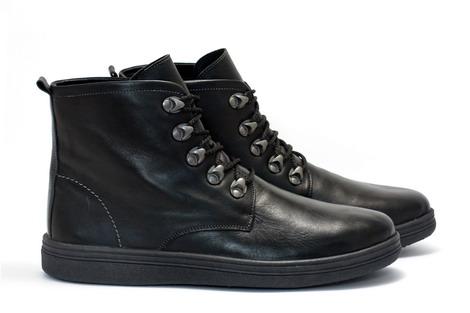 Утепленные ботинки черная кожа Pilgrim, купить ботинки зимние мужские, мужские ботинки купить украина