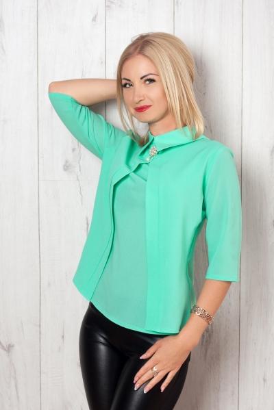 Блуза мятный S&L, купить блузу, блуза женская, Образ дня: блуза и лосины