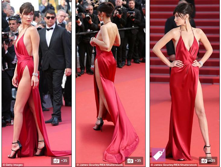 Белла Хадид в красном платье, Канны, платье